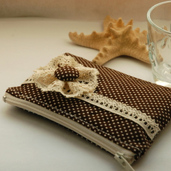 Chocolate Brown Polka Dots Coin Purse