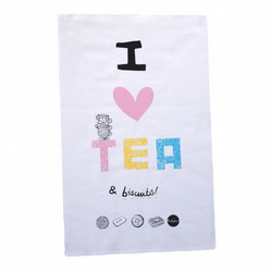 Screen printed  I Love Tea & Biscuits Teatowel