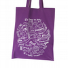 Crafty purple screen printed tote bag hand drawn lettering