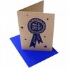No. 1 dad fathers day screen printed card blue