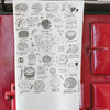 Tea Towel Screen Printed –An illustrated A-Z list of Pies and Tarts Black