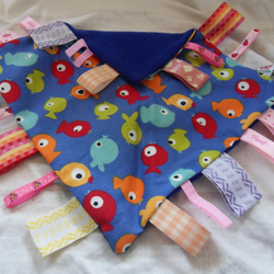 "Homemade baby,child taggy, comforter.  Fishes on blue. 12"" x 12"" (3)"