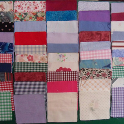 "100 poly cotton 4"" squares. Great for kids crafts or quilting (set 18)"