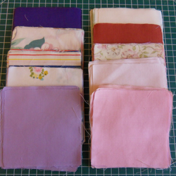"100 poly cotton 4"" squares. Great for kids crafts or quilting (set 32)"