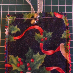 Homemade Christmas tree decoration. Bells on black, (28)