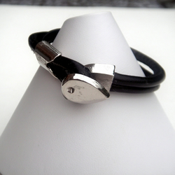 On Sale - Black Faux Leather Unisex Bracelet for Biker, Surfer or Hippy.