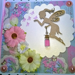 Stunning Handmade fairy, butterflies and flowers card with fairy dust