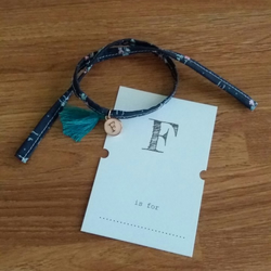 Enamel Letter 'F' Charm Bracelet with Recycled Fabric Strap