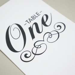 Black & White Vintage Wedding Table Numbers