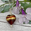 Bronze and gold Heart Necklace. Venetian Murano Glass Heart Pendant