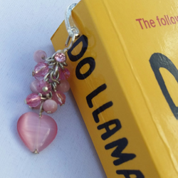 Pink heart beaded bookmark