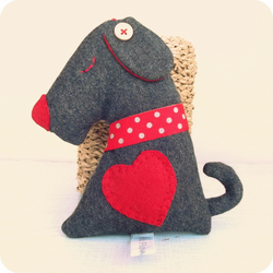 Upcycled Wool Cashmere Lavender Dog with red heart
