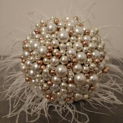 Wedding Bouquet.Ivory and Gold Pearl Bouquet... Bridal Bouquet...