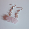 Rose quartz flower drop earrings