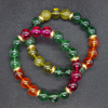 Multicolour crackled quartz elasticated bracelet duo