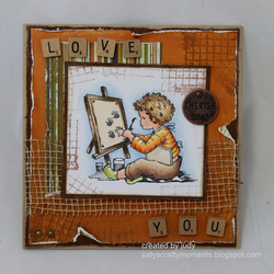 'Love You'  - OOAK Handmade Greeting Card for a boy