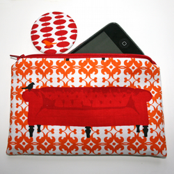 Purse and mirror - red sofa