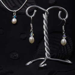 "Handmade Freshwater Pearl Set, 18"", Sterling Silver, Christmas Gift"