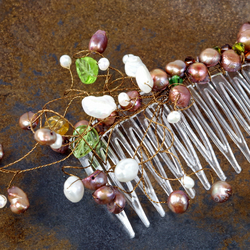 Brides Vintage Handmade Swarovski Crystal and Freshwater Pearl Comb, Wedding,