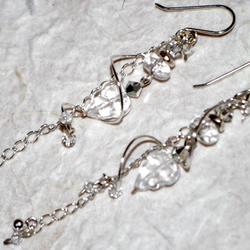 Hand-crafted Earring, Sterling Silver, Swarovski Crystal, Chandelier, Delicate