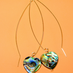 Unusual drop earring, Abalone Shell, hand-made