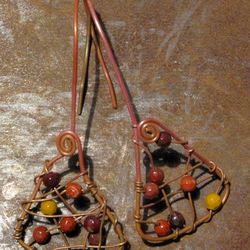 Hand forged earrings. Copper, Gemstone, Boho, Urban, Primitive, Bronze,