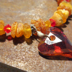 Handmade Amber Gemstone bangle, bracelet, Swarovski Crystal, Sterling Silver
