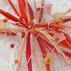 Fascinator, MOB, Bridesmaid, Wedding, comb, coral.  peach. flame feather