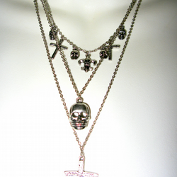 Necklace, Choker, Skull & Cross Goth, Steampunk, Gothic, Punk, Fleur de Lys