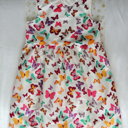 White Cotton Summer Dress with Multi-coloured Butterflies, Age Approx 4-5 years