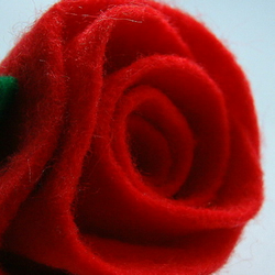 Red Felt Rose Brooch