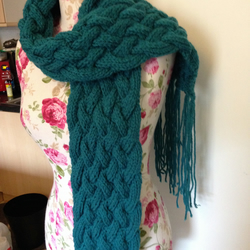 Teal Cable Scarf