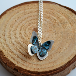 Sterling silver and patinated butterfly necklace