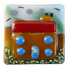 Handmade fused glass 'Little House' brooch