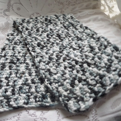 Versatile Scarf or Cowl - Black, Grey and White crochet - 34 inches in length