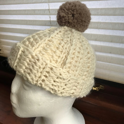 Ladies Crochet Winter Hat Beanie With Large PomPom Wool And Alpaca Off White