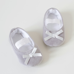 Grey velvet ballet flat, baby girls shoes, toddler shoes, baby girls accessories