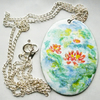 Painted enamel pendant (large) - waterlilies