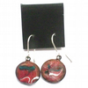 enamel earrings - small round scrolled white and green on red