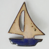 brooch - blue boat with brown sails