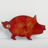 brooch - pig, brick red over clear enamel