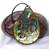 large teardrop pendant - scrolled blue-green, red-brown and white on lime green