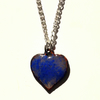 heart pendant - blue enamel over clear