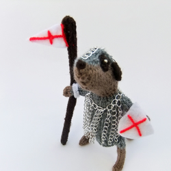 Meerkat knight, hero meerkat, St George, St Georges Day, knitted meerkat
