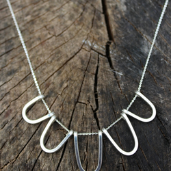 sterling silver loop necklace, statement silver necklace, loopy bib necklace,