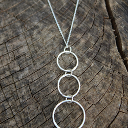 silver circle necklace, long hoop necklace, silver hoop necklace