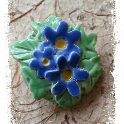 Ceramic Brooch Floral Feminine Blue flowers