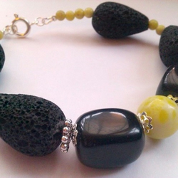 Lime Jade, Onyx and Lava Rock Bracelet