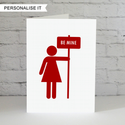 Personalised love card sign Valentines card