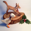 Hand painted set of two fox and goose hanging Christmas decorations.